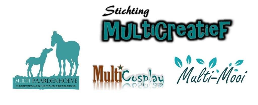 Stichting MultiCreatief logo's Multi-Paardenhoeve, Multi-Cosplay, Dagbestedingsewinkel, Multi-Mooi
